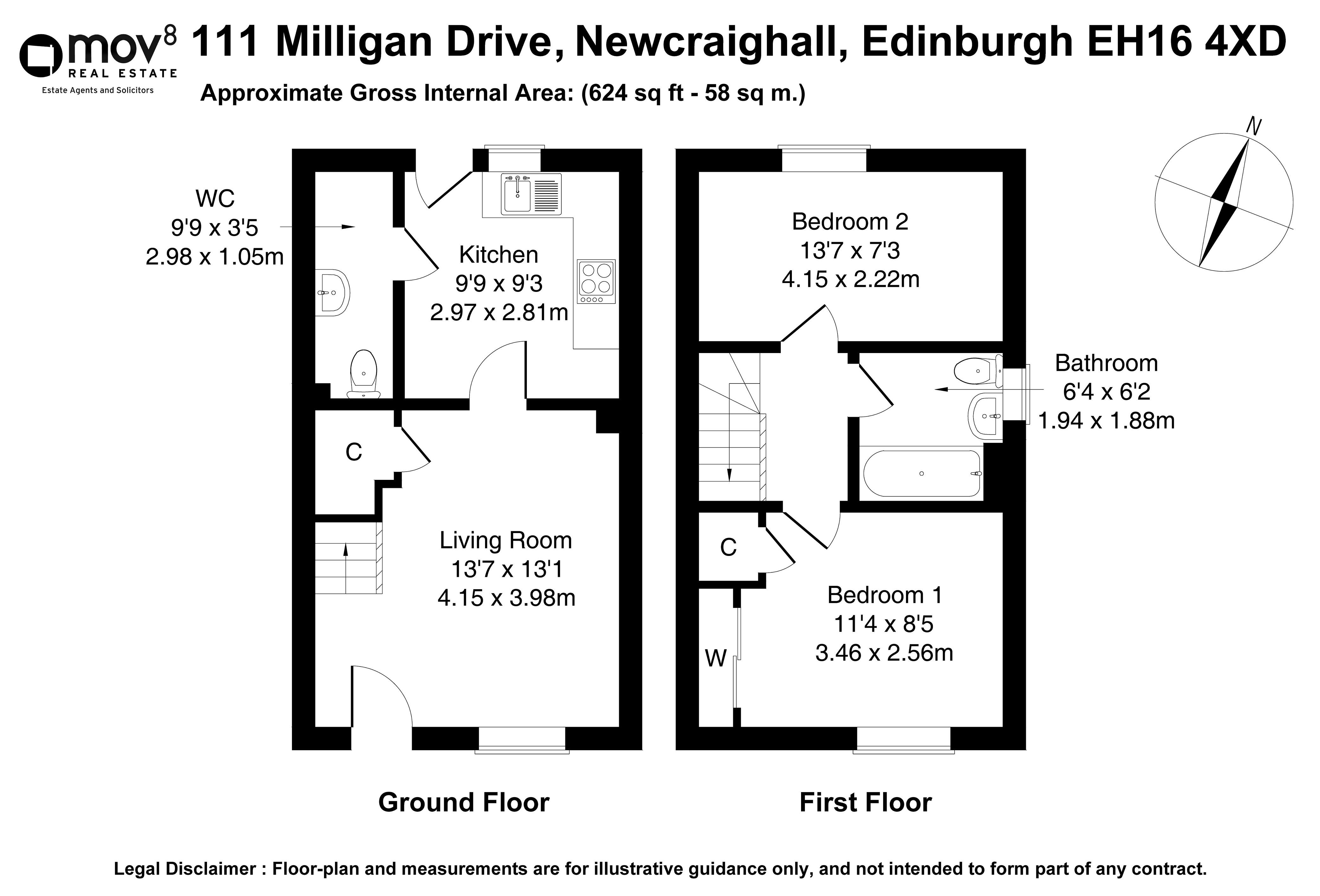 Floorplan 1 of 111 Milligan Drive, Newcraighall, Edinburgh, EH16 4XD