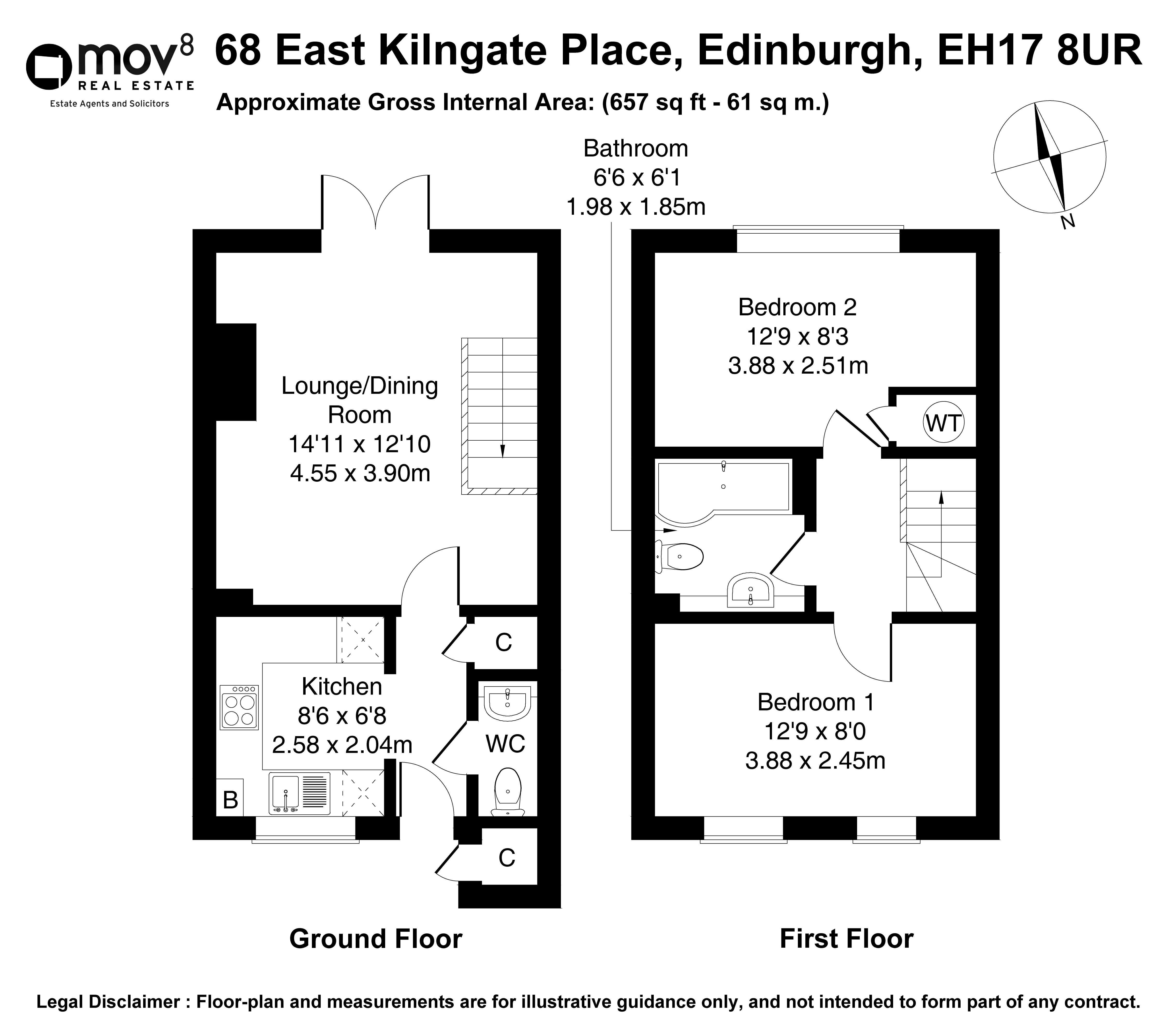 Floorplan 1 of 68 East Kilngate Place, Gilmerton, Edinburgh, EH17 8UR