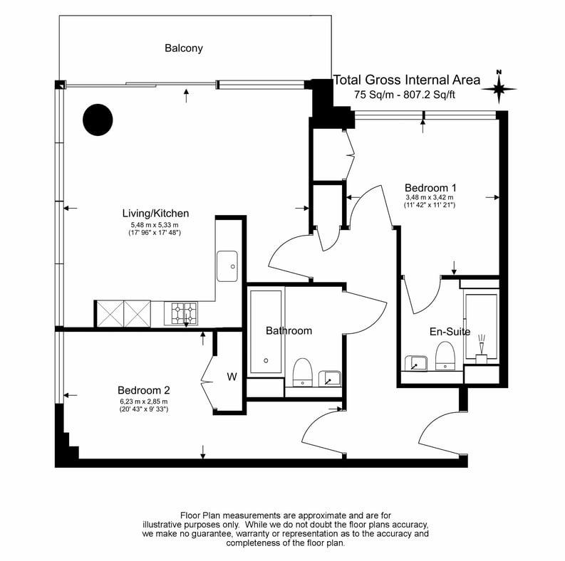 2 bedroom(s) apartment to sale in Landmark East Tower, Marsh Wall, Canary Wharf, London-Floorplan