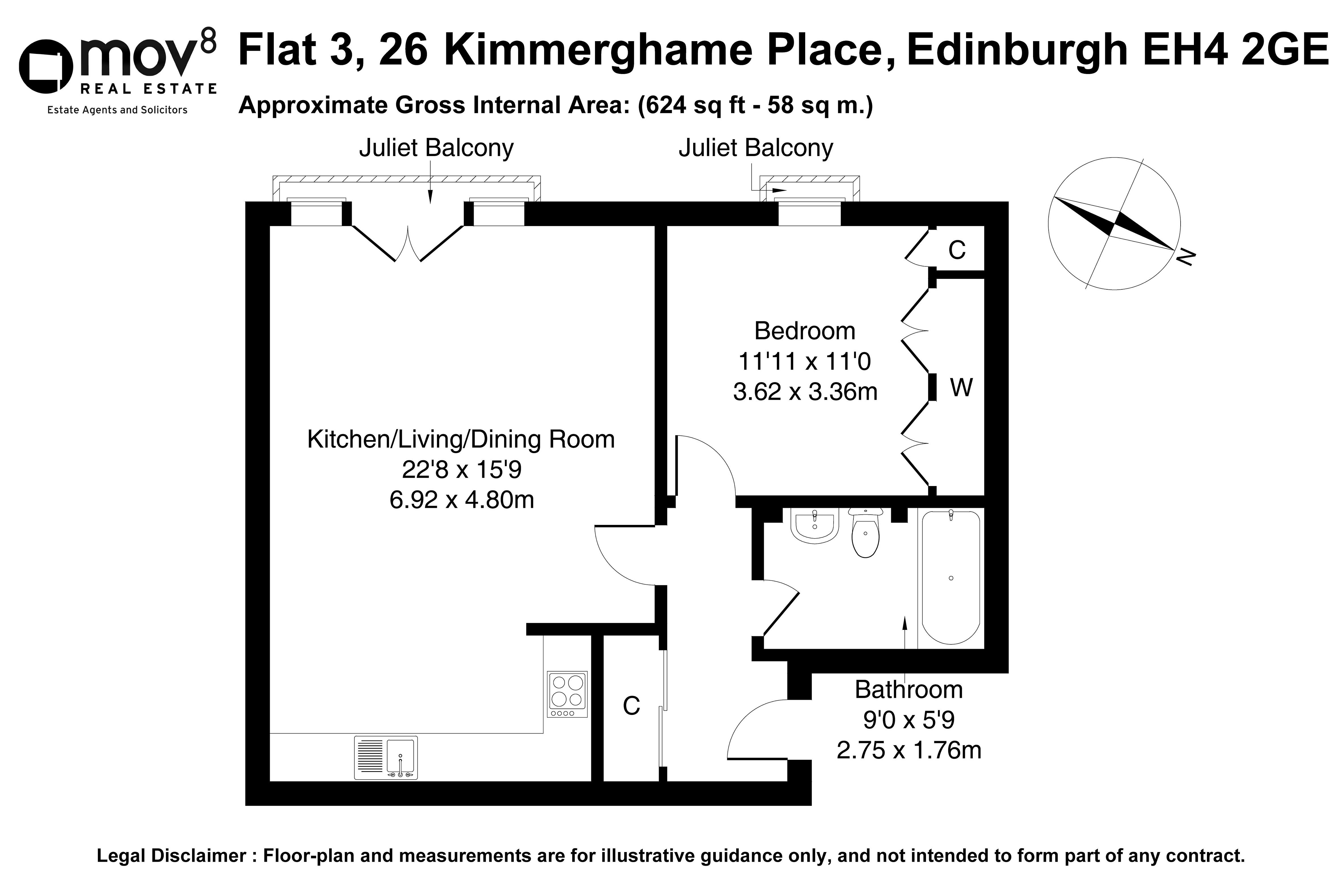Floorplan 1 of Flat 3, 26 Kimmerghame Place, Fettes, Edinburgh, EH4 2GE