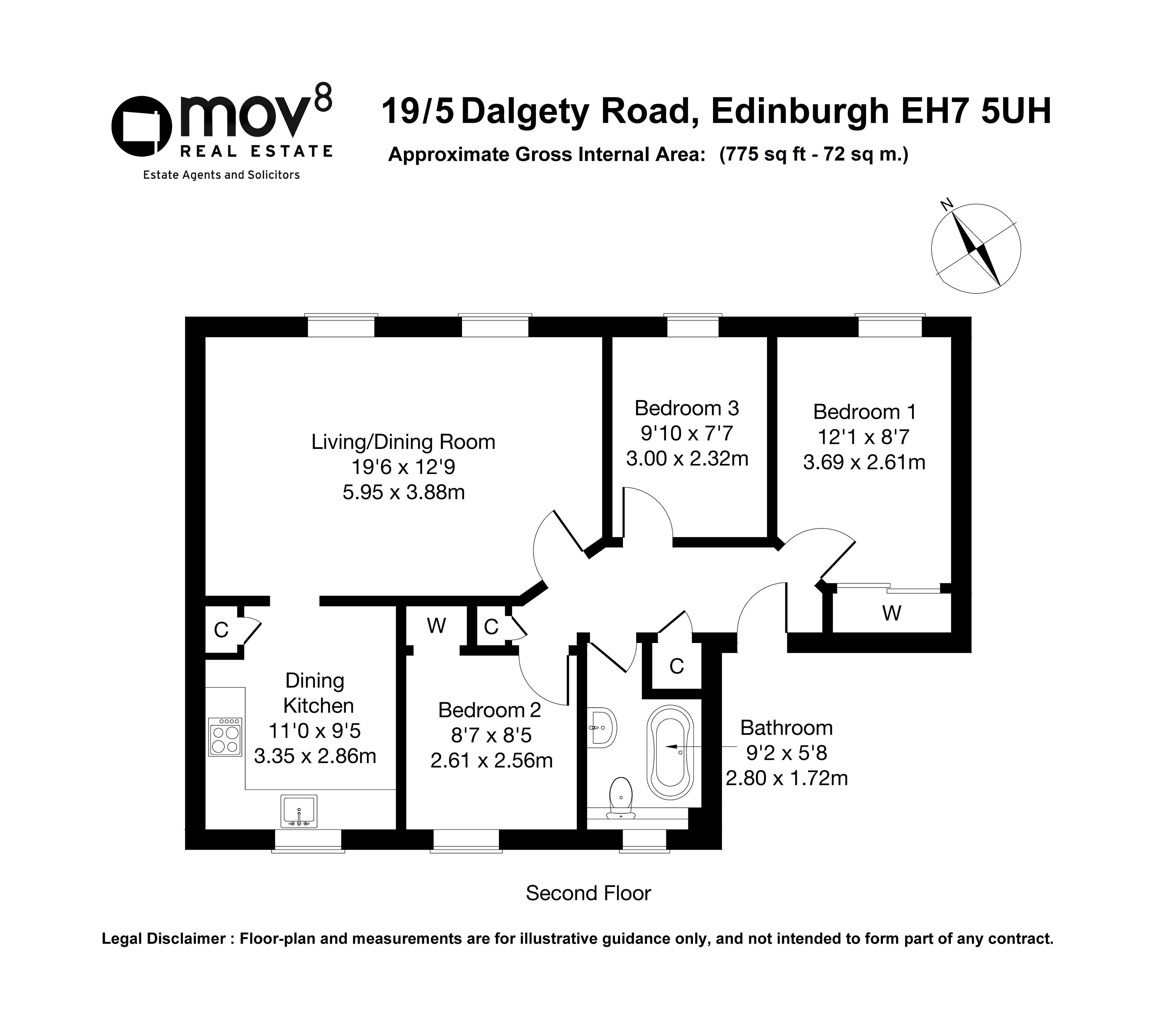 Floorplan 1 of 19/5, Dalgety Road, Meadowbank, Edinburgh, EH7 5UH