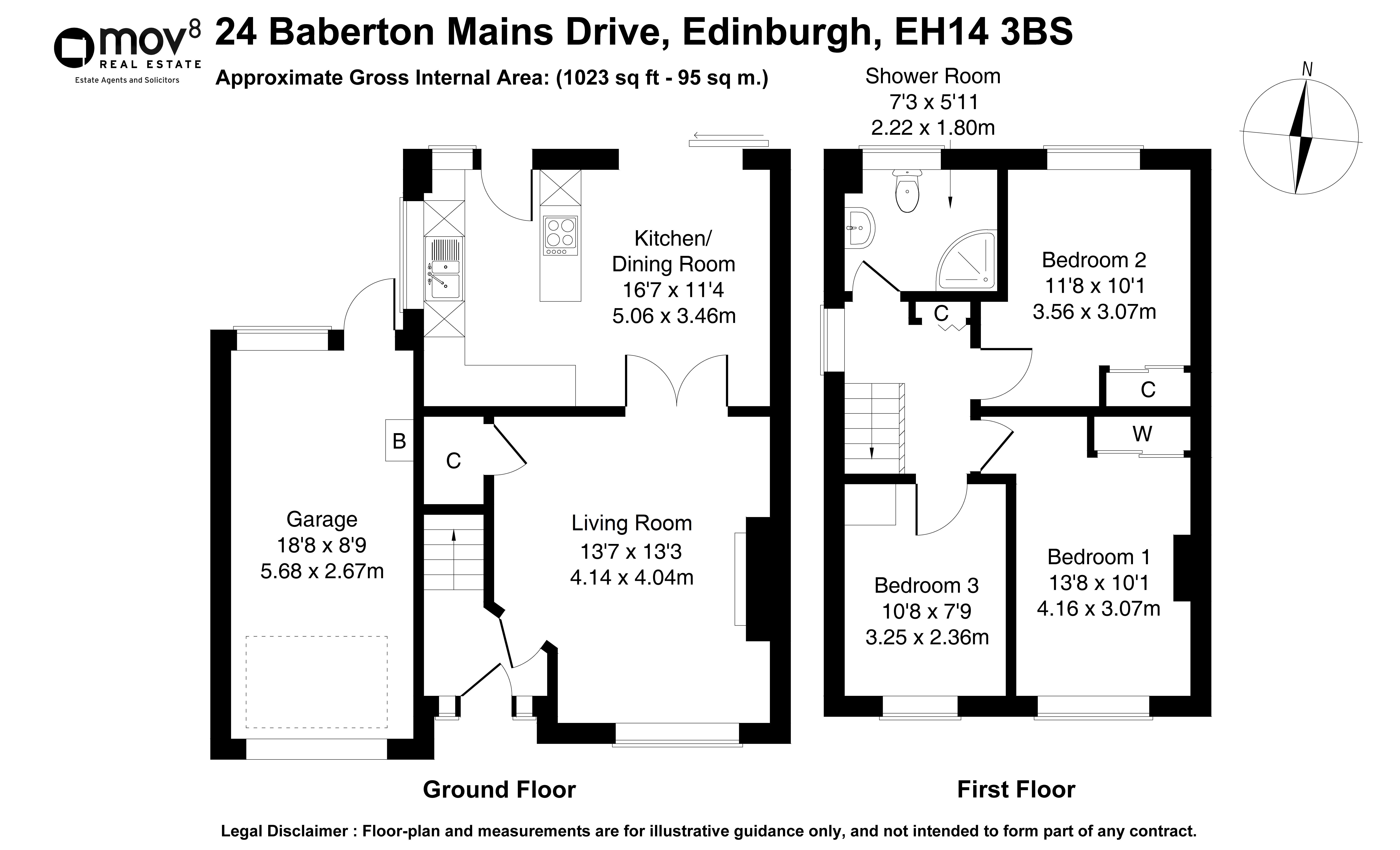 Floorplan 1 of 24 Baberton Mains Drive, Baberton, Edinburgh, EH14 3BS