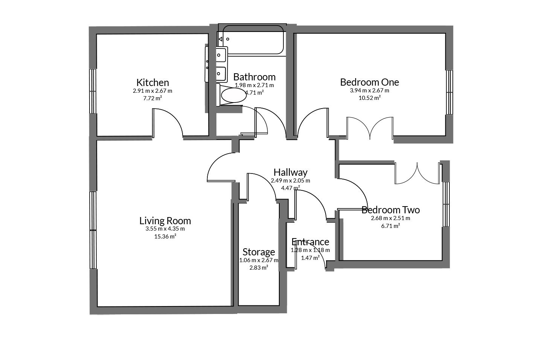 Floorplan for Friars House, Yate.