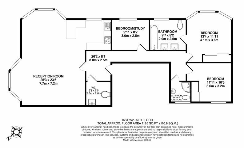 3 bedroom(s) apartment to sale in Stanhope Terrace, Hyde Park-Floorplan