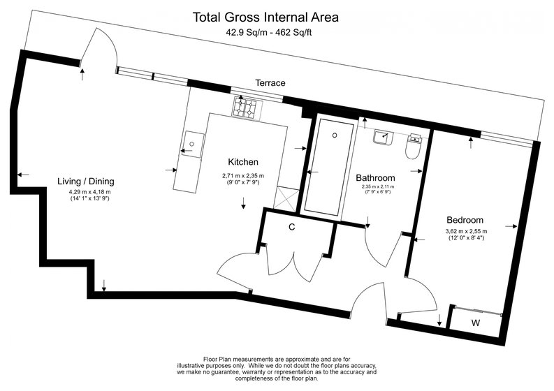 1 bedroom(s) to sale in Fitzroy House, Dickens Yard, Ealing, London-Floorplan