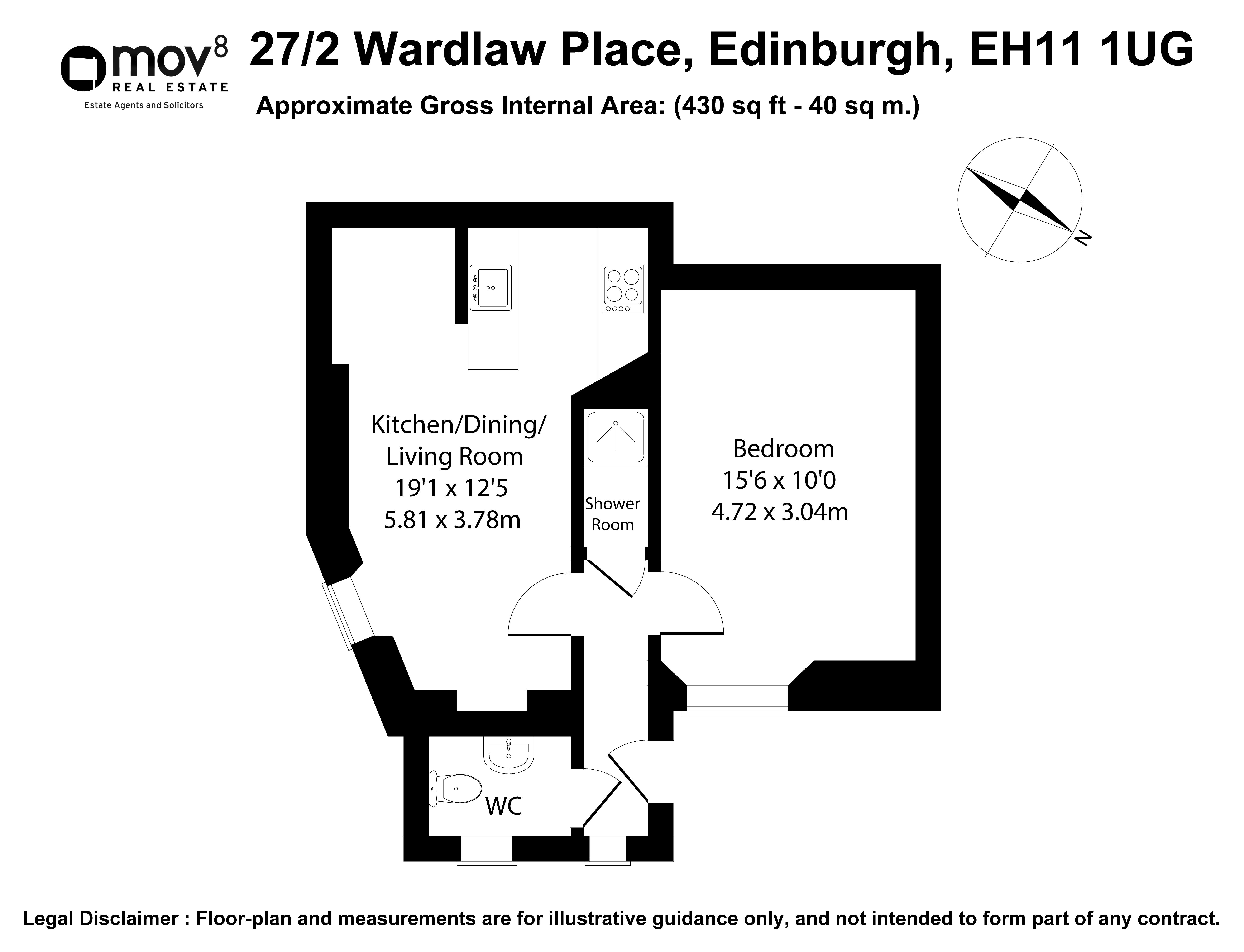 Floorplan 1 of 27/2, Wardlaw Place, Gorgie, Edinburgh, EH11 1UG