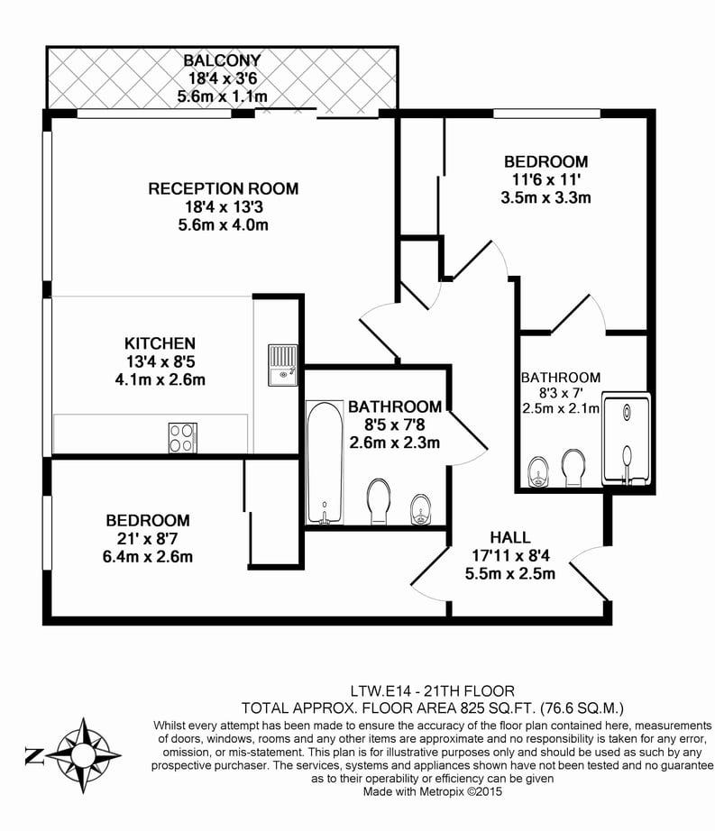 2 bedroom(s) apartment to sale in Landmark West Tower,, 22 Marsh Wall, London-Floorplan