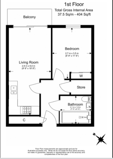 1 bedroom(s) apartment to sale in Riverside Apartments, Goodchild Road, Woodberry Down, Manor House-Floorplan