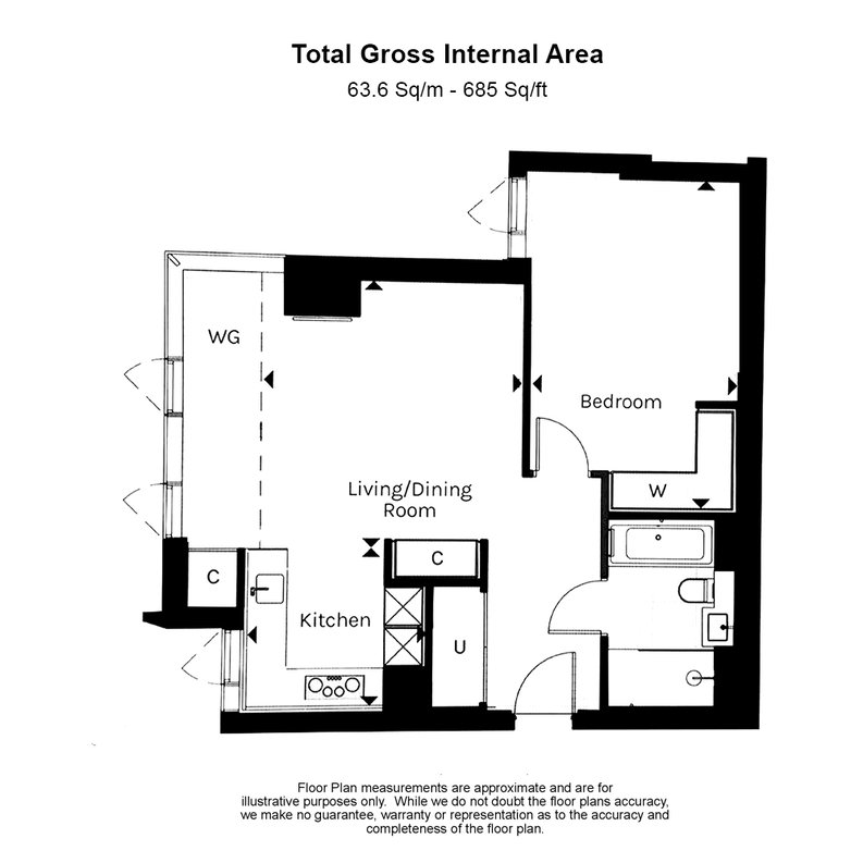 1 bedroom(s) apartment to sale in Carrara Tower, 250 City Road, Angel-Floorplan