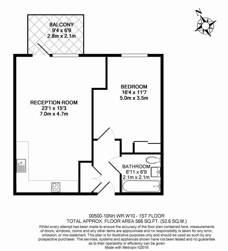 1 bedroom(s) apartment to sale in Nautilus House, West Row, Ladbroke Grove, London-Floorplan