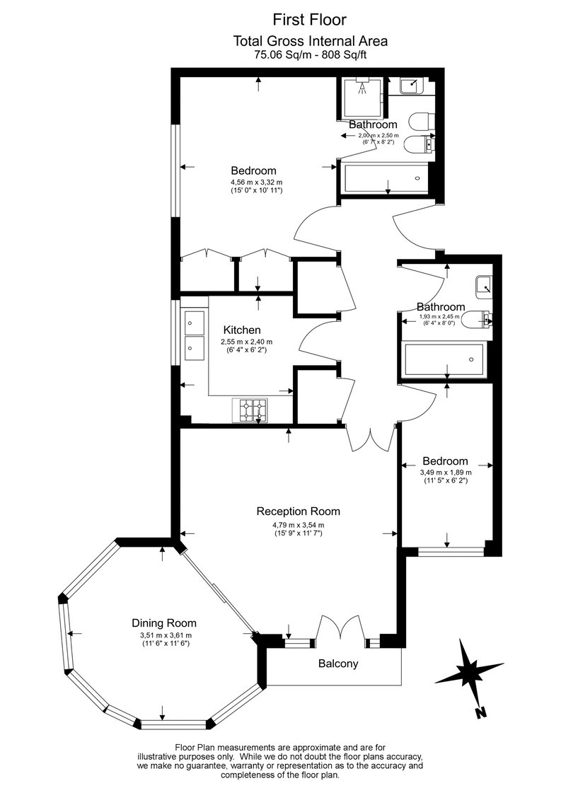 2 bedroom(s) apartment to sale in Trinity Church Road, London-Floorplan
