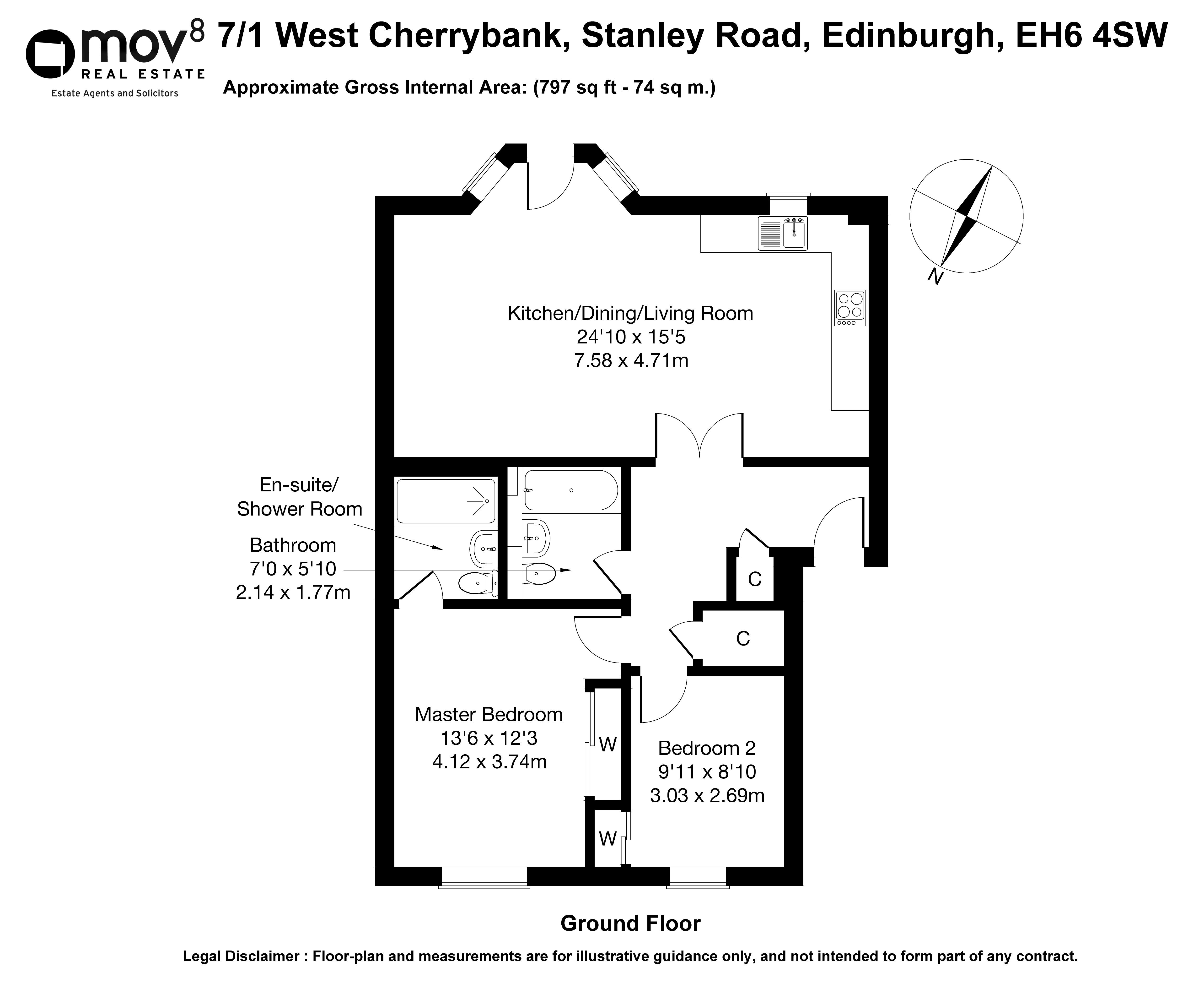 Floorplan 1 of 7/1 West Cherrybank, Stanley Road, Trinity, Edinburgh, EH6 4SW