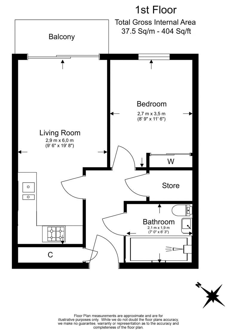 1 bedroom(s) apartment to sale in Riverside Apartments, , Goodchild Road, London-Floorplan